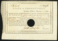 Colonial Notes:Connecticut, State of Connecticut Treasury Office February 1, 1789 £3 Very Fine-Extremely Fine.. ...