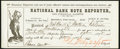 National Bank Note Reporter and Financial Gazette Subscription Receipt 1875 Extremely Fine