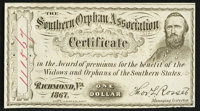 Richmond, VA- Southern Orphan Association $1 1867 Choice About Uncirculated