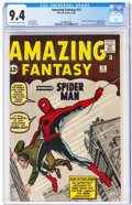 Silver Age (1956-1969):Superhero, Amazing Fantasy #15 (Marvel, 1962) CGC NM 9.4 Off-white to white pages.