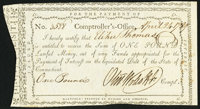 State of Connecticut Comptroller's Office April 24, 1789 £1 Extremely Fine