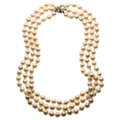 Estate Jewelry:Necklaces, Cultured Pearl, Diamond, White Gold Necklace . ...