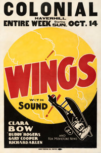 """Wings (Paramount, R-1928). Good+ on Linen. Other Company One Sheet (30"""" X 45"""")"""