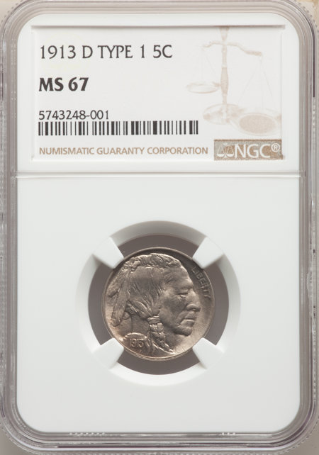 1913-D Type One 5C, MS 67 NGC