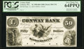 Obsoletes By State:Massachusetts, Conway, MA- Conway Bank $50 Sept. 12, 1854 UNL Proof PCGS Very Choice New 64PPQ.. ...