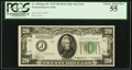 Fr. 2054-J* $20 1934 Mule Dark Green Seal Federal Reserve Note. PCGS Choice About New 55