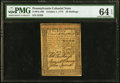 Pennsylvania October 1, 1773 20s PMG Choice Uncirculated 64 EPQ