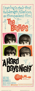 """Movie Posters:Rock and Roll, A Hard Day's Night (United Artists, 1964). Fine/Very Fine on Paper. Insert (14"""" X 36"""").. ..."""
