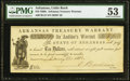 Obsoletes By State:Arkansas, Little Rock, AR- Arkansas Treasury Warrant $10 Jan. 10, 1862 PMG About Uncirculated 53.. ...