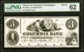 Washington, DC- Columbia Bank $3 185_ as G4 Proof PMG Uncirculated 62