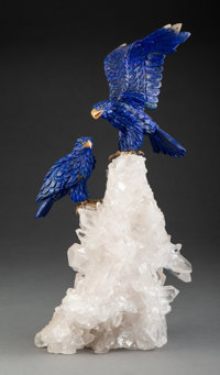A Lapis Lazuli and Rock Crystal Figural Group of Two Birds, 20th century 15-3/4 inches (40.0 cm) (overall)