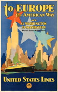 """Movie Posters:Miscellaneous, To Europe, the American Way (United States Lines, 1930s). Very Fine on Linen. Travel Poster (20"""" X 31.5"""").. ..."""