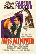 Movie Posters:Academy Award Winners, Mrs. Miniver (MGM, 1942). Fine- on Linen. One Shee...