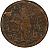 (1670-75) FARTH New Jersey St. Patrick Farthing, Halo Reverse VF30 PCGS. PCGS Population: (1/1 and 0/0+). NGC Census: (1...