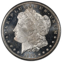 1885-CC $1 MS64+ Deep Mirror Prooflike PCGS. CAC. PCGS Population: (484/272 and 21/25+). NGC Census: (182/84 and 2/2+)...