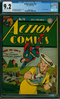 Action Comics #74 (DC, 1944) CGC NM- 9.2 OFF-WHITE TO WHITE pages