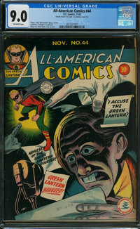 All-American Comics #44 - DOUBLE COVER (DC, 1942) CGC VF/NM 9.0 Off-white pages