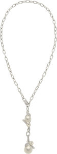 Estate Jewelry:Necklaces, South Sea Cultured Pearl, Diamond, Mother-of-Pearl, White Gold Necklace, Mikimoto. ...