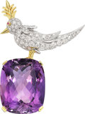 Estate Jewelry:Brooches - Pins, Amethyst, Diamond, Platinum, Gold Brooch, Schlumberger Studios for Tiffany & Co.. ...