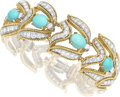 Estate Jewelry:Bracelets, Diamond, Turquoise, Platinum, Gold Bracelet, David Webb. ...