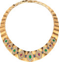Estate Jewelry:Necklaces, Diamond, Ruby, Emerald, Sapphire, Gold Necklace. ...