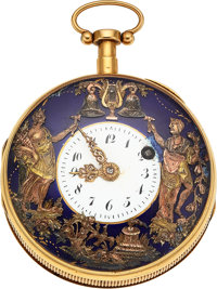 Swiss 18k Gold Quarter Repeating Verge Fusee With Automaton, circa 1830