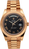 Timepieces:Wristwatch, Rolex, Oyster Perpetual Day Date II , 18k Rose Gold, Ref. 218235, Circa 2015. ...