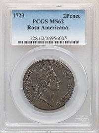 1723 2PENCE Rosa Americana Twopence MS62 Brown PCGS. M. 3.5-E.5, W-1334, R.4,...(PCGS# 128)