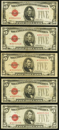 Fr. 1527* $5 1928B Legal Tender Note. Fine-Very Fine; Fr. 1531* $5 1928F Wide I Legal Tender Notes. Three Examp