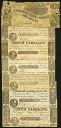 Confederate Notes:1862 Issues, T44 $1 1862 Fair;. Raleigh, NC- State of North Carolina $2 Oct. 4, 1861, Six Examples Fine or Better.. ... (Total: 7 notes)