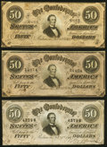 Confederate Notes:1864 Issues, T66 $50 1864 Three Examples Very Fine-Extremely Fine or Better.. ... (Total: 3 notes)