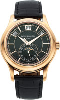 Timepieces:Wristwatch, Patek Philippe, Very Fine Ref. 5205R-001 Annual Calendar Moonphase, 18k Rose Gold, Circa 2017. ...