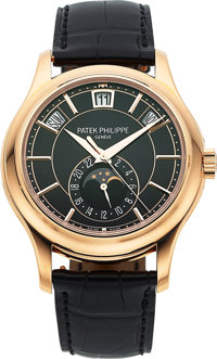 Patek Philippe Rose Gold Annual Calendar Wristwatch with 24-Hour Indication and Moon Phases, Ref. 5205R-001