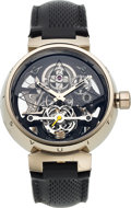 Timepieces:Wristwatch, Louis Vuitton, Tambour Monogram Tourbillon, 18k White Gold, Manual Wind, Circa 2008. ...