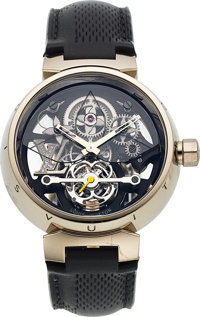 Louis Vuitton, Tambour Monogram Tourbillon, 18k White Gold, Manual Wind, Circa 2008