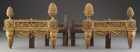 A Pair of French Louis XVI-Style Gilt Bronze Chenet 10 x 13 x 17-1/2 inches (25.4 x 33.0 x 44.5 cm) (each)  ... (Total:...