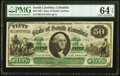 Columbia, SC- State of South Carolina $50 Mar. 2, 1872 Cr. 8 PMG Choice Uncirculated 64 EPQ