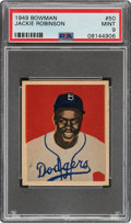 Baseball Cards:Singles (1940-1949), 1949 Bowman Jackie Robinson #50 PSA Mint 9 - None Higher....