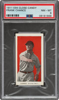 Baseball Cards:Singles (Pre-1930), 1911 E94 Close Candy Frank Chance (Red) PSA NM-MT 8 - Pop One, None Higher! ...
