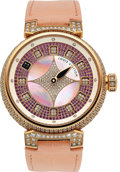 Timepieces:Wristwatch, Louis Vuitton, Tambour Spin Time Galaxy, 18k Rose Gold and Pave Diamonds, Ltd Ed: 1/12, Circa 2019. ...