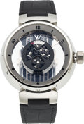 Timepieces:Wristwatch, Louis Vuitton, Tambour Mystérieuse 7-Day Power Reserve, Platinum, Circa 2009. ...