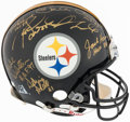 Football Collectibles:Helmets, 1970s Pittsburgh Steelers Legends Multi-Signed Helmet. ...