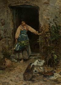 Cesare Tiratelli (Italian, 1864-1933) At the kitchen door Oil on canvas 25 x 18-1/4 inches (63.5