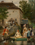 Paintings, Pierre Outin (French, 1840-1899). The boating party. Oil on canvas. 32 x 25-3/4 inches (81.3 x 65.4 cm). Signed lower ri...