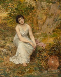 Paintings, Sophie Anderson (British, 1823-1903). At the well. Oil on canvas. 50-1/4 x 40-1/4 inches (127.6 x 102.2 cm). Signed lowe...