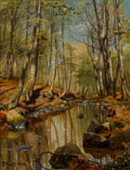 Paintings, Peder Mork Monsted (Danish, 1859-1941). A wooded river landscape, 1892. Oil on canvas. 17-1/8 x 13 inches (43.5 x 33.0 c...