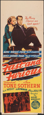 "Fast and Furious (MGM, 1939). Folded, Fine/Very Fine. Australian Pre-War Daybill (15"" X 40"") & Lobby Cards..."