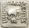 Ancients:Oriental, Ancients: INDO-GREEK KINGDOMS. Bactria. Apollodotus I Soter (ca. 174-165 BC). AR Indic square drachm (14mm, 2.04 gm, 12h). Fine....