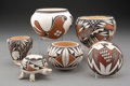 American Indian Art:Pottery, Six Acoma / Laguna Polychrome Pottery Items... (Total: 6 )
