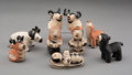 American Indian Art:Pottery, Nine Cochiti Polychrome Figures Including Nativity Items ... (Total: 9 )